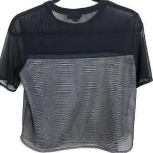Topshop Black Sheer Mesh Fishnet  Crop Top Size 6